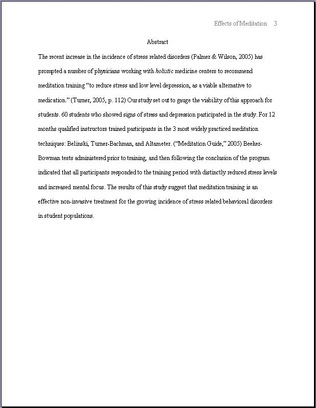 apa thesis statement format