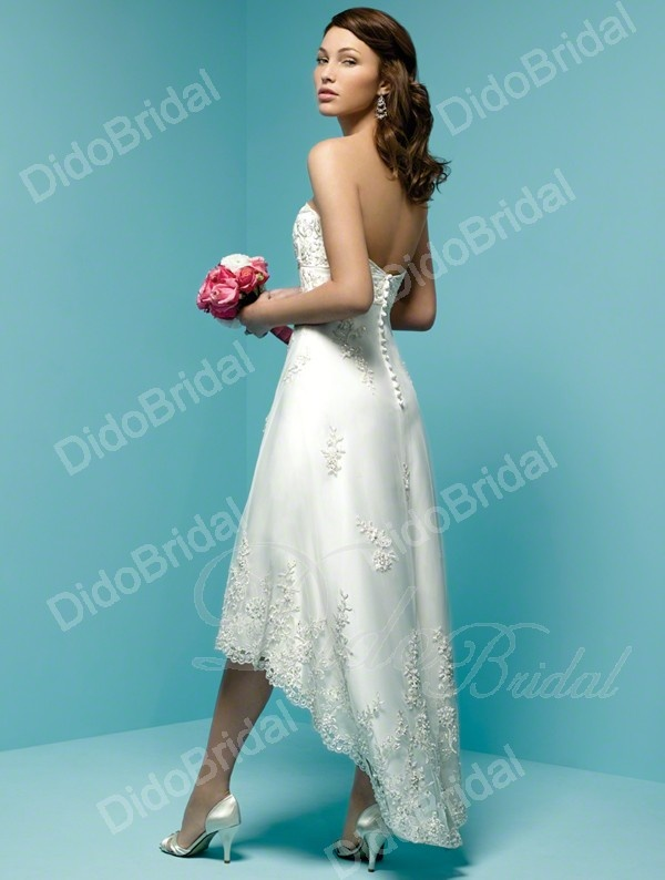 A-line Sweetheart Hi-low Length Net over Satin Destination Wedding Dress