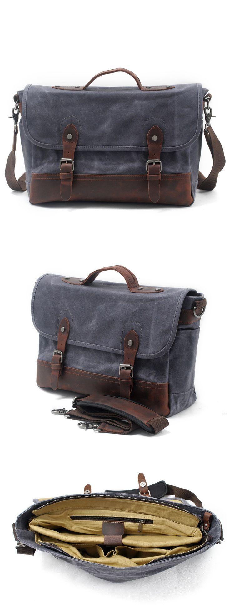 Waxed Canvas Leather Laptop Messenger Bag Satchel Briefcase Men