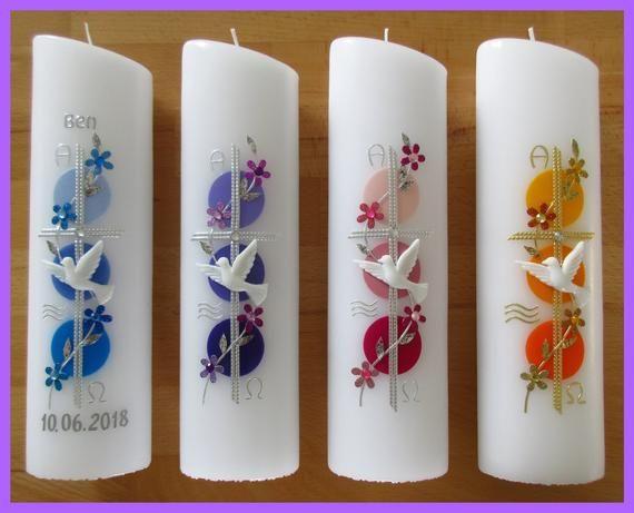 Taufkerze Junge / Mädchen – Motiv Kreuz / Blumenranke / inkl. Beschriftung