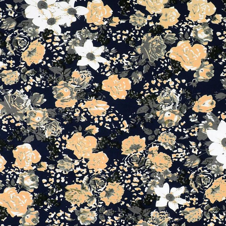 Printed Cotton Stretch Twill - Flowers on Navy