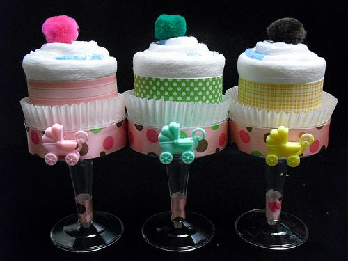 Great combination for girl ~ Pink Green Brown Champagne Diaper Cupcakes!