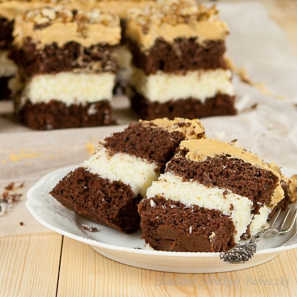 Chocolate sponge cake with toffee with coconut