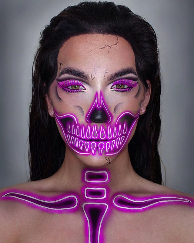 WEBSTA @ openmindfreesoul - NEON SKELETONthis look is for the @nyxcosmetics #31daysofhalloween #ad thank you for choosing me to be a part of this!using their white liquid liner, gel and smudger in 'jet black', tinted brow mascara and control freak brow gelthe pink is just uv neon face paint!#openmindfreesoul#nyxcosmetics