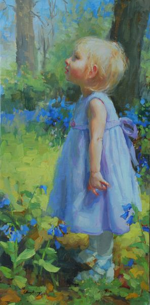 Marci Oleszkiewicz Paintings | kasia s bluebells i worked on this one for my