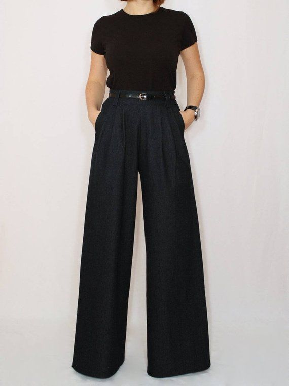 36a01b68657 Jeans women Boho jeans Black Denim Plus size bohemian clothing Flare jeans  Wide leg pants womens clo
