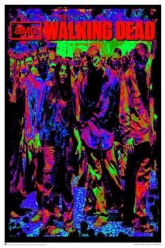 Neon colored black light poster from The Walking Dead tv show by AMC, with a sea of walkers imposing on the living beneath a giant Walking Dead logo.  This poster by The Walking Dead is officially licensed by AMC.