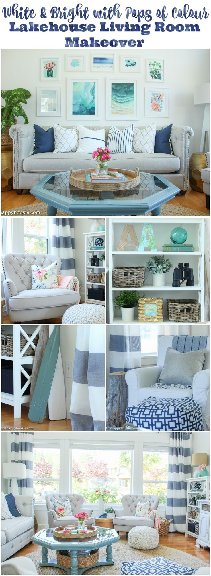 Lake house living room decor - Living Room Makeover Reveal