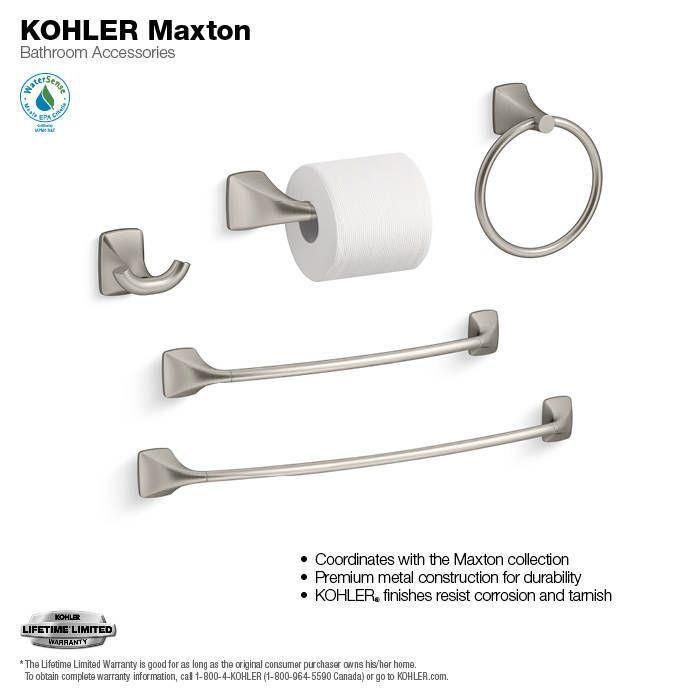kohler maxton 24 in brush nickel wall