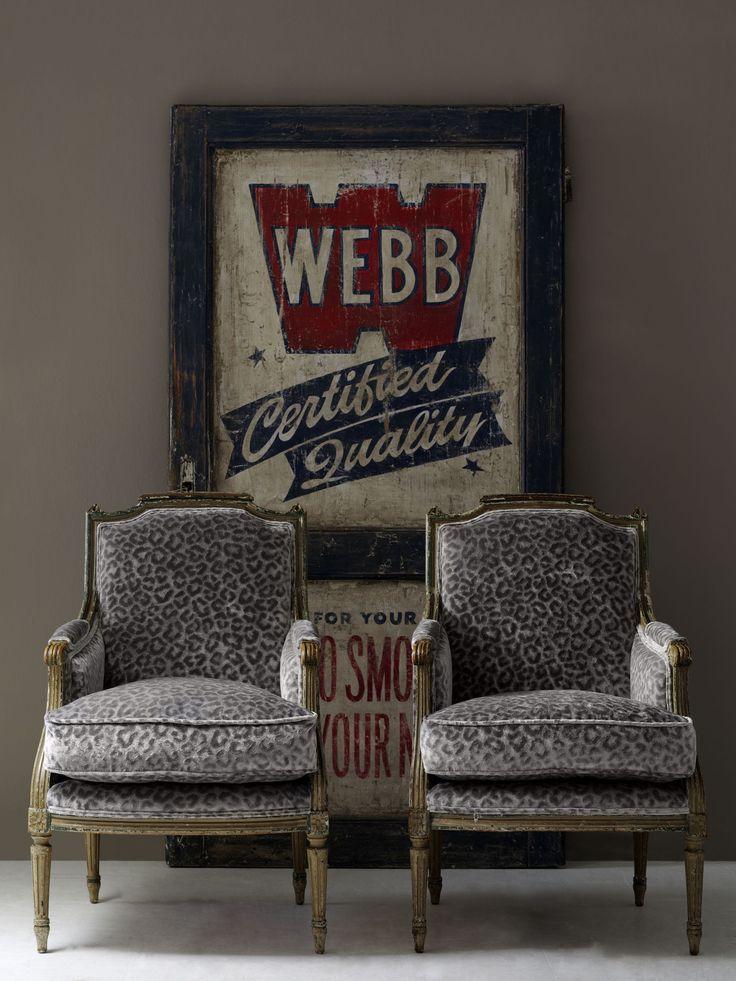 #andrewmartin #interiordesign #furniture #pattern #cheetah #grey #rustic #vintage #sign #chair