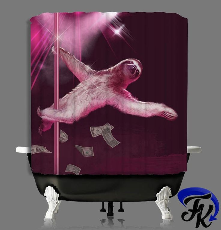 Sloth Strip Design Shower Curtain And Liners Modern Bathroom