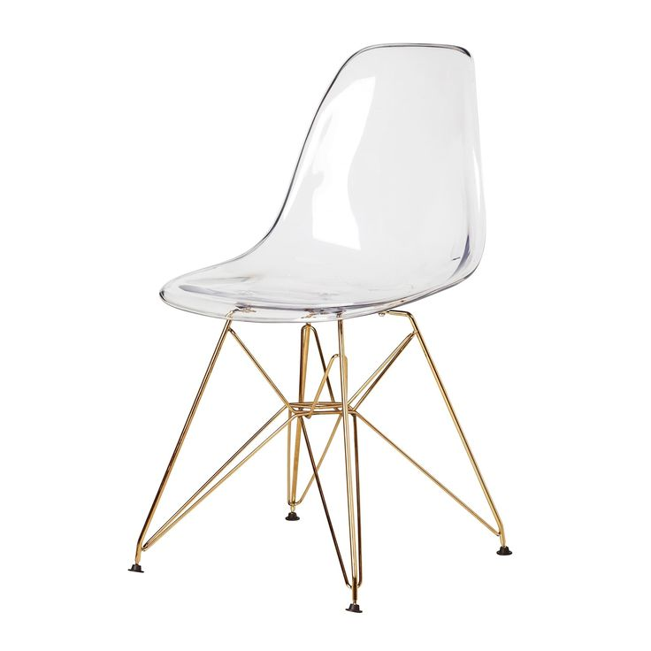 Molded Plastic Dsr Style Clear Side Chair With Gold Legs