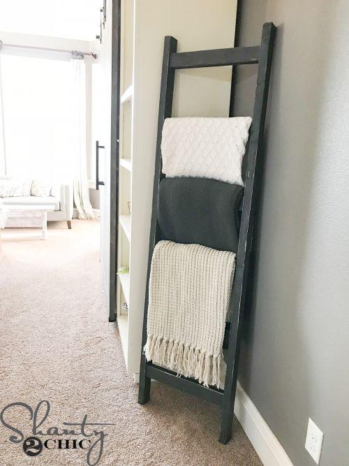 DIY $7 Rustic Blanket Ladder