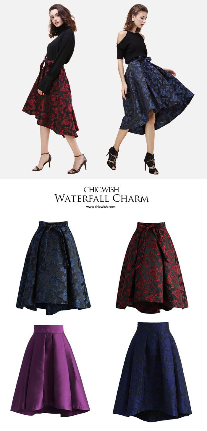 Gotta dash! dark floral print and girlish waterfall hemline. Offering elegance in a dash! Chicwish Dashing Rose Embossed Waterfall Skirt www.chicwish.com
