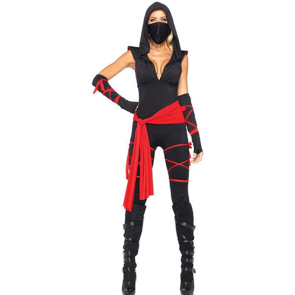 Black Ninja Warrior Sexy Costume ($27) ❤ liked on Polyvore featuring costumes, black, sexy black costume, ninja costume, sexy ninja halloween costumes, sexy costumes and black costume