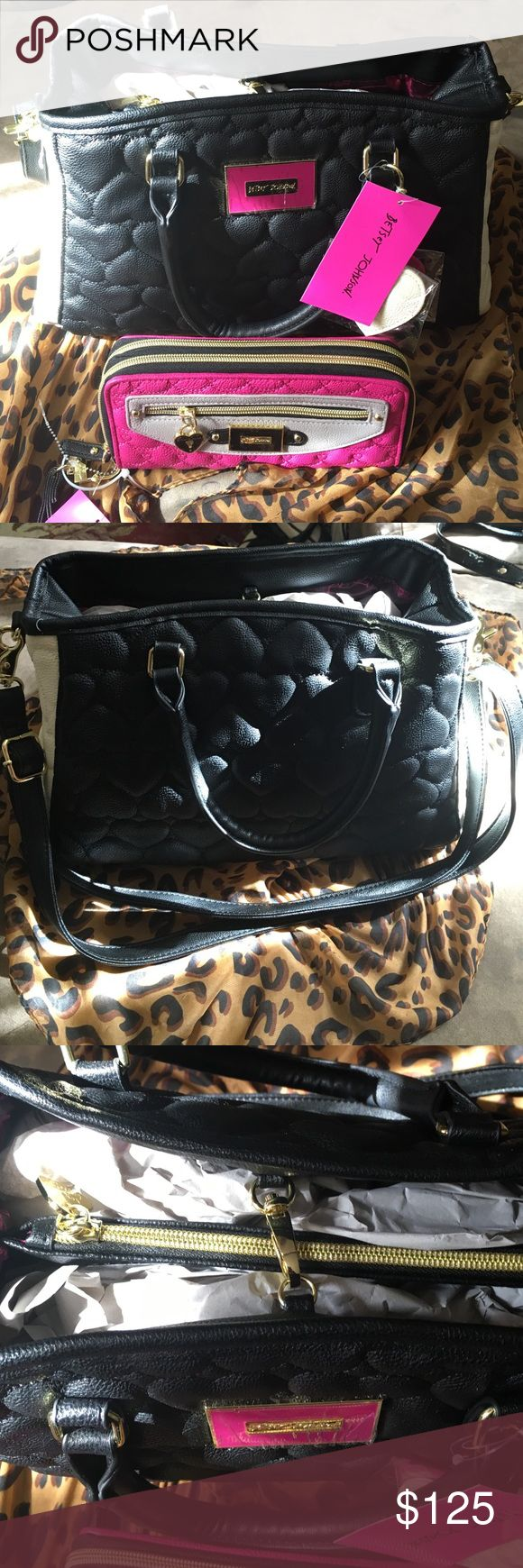 Betsy Johnson matching bag & wallet!❤️❤️❤️💕💕😱 A gorgeous & edgy black, cream, and pink embellished hearts set!! It's a must have for all Betsy fans!! Price is Firm!! Please no lowballers!!😁⭐️⭐️🌙🎃 Betsey Johnson Bags Baby Bags