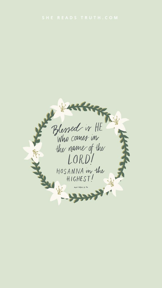 Blessed is He who comes in the name of the Lord!  Hosanna in the Highest!  Matthew 21:9