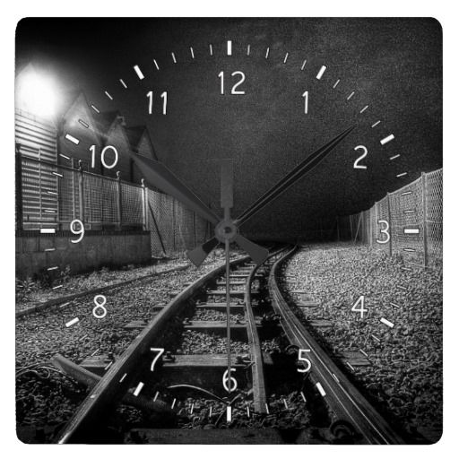 Blind Curve Wall Clock :- On Brighton beach the rails of the Volk's Railway is dimly lit by the lighting on the nearby huts. #tracks #rail #rails #trains #train #transport #night #dark #mood #moody #beach #brighton #railway #fineart