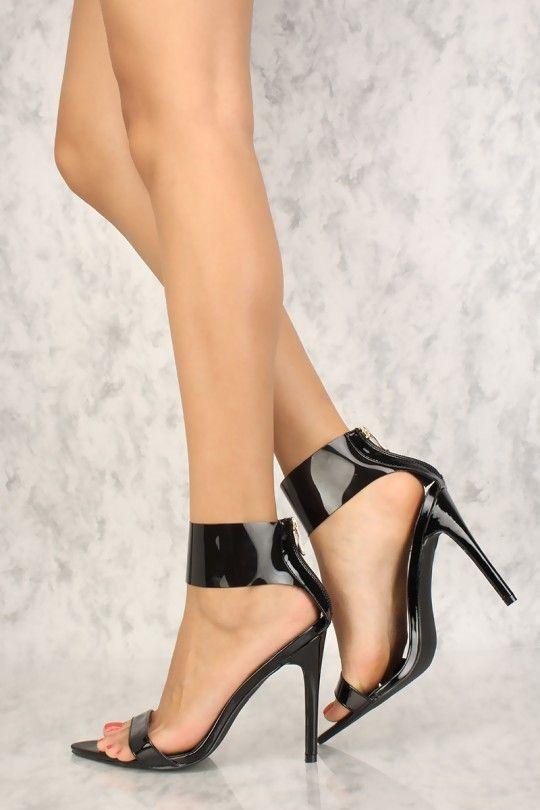 9ebd829ec74 Sexy Black Pointy Open Toe Single Sole High Heels Patent in 2018 ...