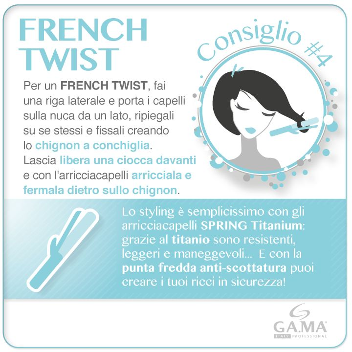 #capelli raccolti per una serata speciale: che ne dite di un French Twist? Aggiungete un tocco di classe con l'arricciacapelli Spring Titanium! /// #Hair #updo for a special night out? Try with the #Frenchtwist and follow #Gama's #tips to add a special touch with Spring Titanium #curling #iron! www.gamaprofessional.it/Ferri/Spring #gamaitalia #gamaconsiglia #beautytechnology #ferri #curlingiron #curlingirons #irons #arricciacapelli #howto #tutorial #hairtips #frenchtwist #chignon