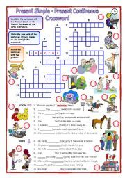 English worksheet: Present Simple - Present Continuous Crossword