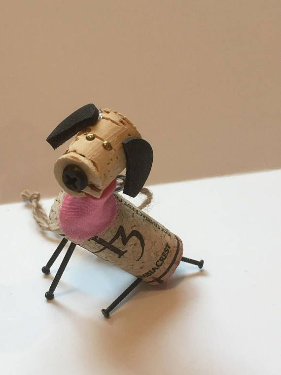 Puppies! Wine! Put together for a dog-loving winer you know, each has floppy ears, bandana, and sits all day long! Hang or easy to keep sitting on a shelf. Corks vary, bandana will be red. Requests for light blue or pink, no problem! I also fill special orders. If you have a specific cork you
