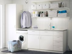 Superb Wall shelves and cabinet with door from ikea as laundry room storage ideas