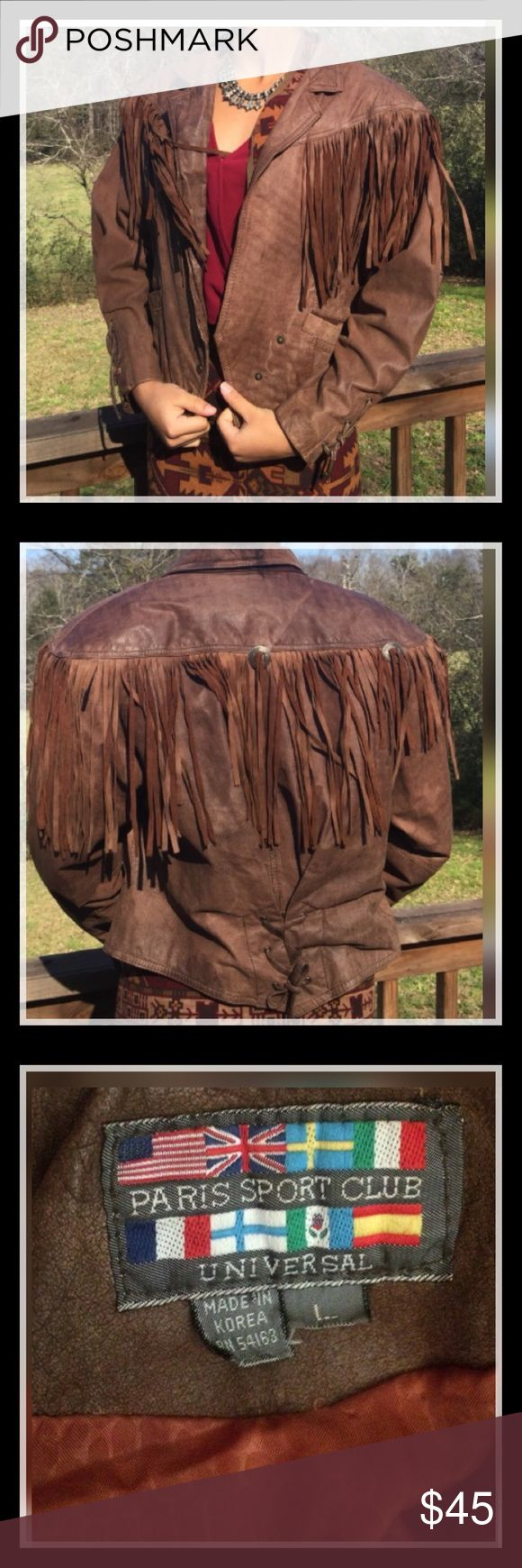 Georgeous Leather  Jacket w/Fringe Vintage Georgeous Leather  Jacket w/Fringe Vintage. Reposh.  Paris Sport Club vintage '80's brown leather fringe Jacket. Very good condition. Size says large but would probably fit medium also. Paris Sport Club Jackets & Coats
