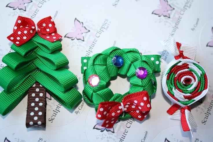 Christmas Sculpture Ribbon Hair Clips Set by SculptureClippiesNCo