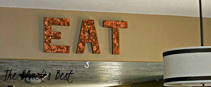 Copper EAT sign: Crafts Ideas, Pennies Letters I M, Pennies Art, Art Ideas, Covers Letters, Crafts Gossip, Diy Projects, Copper Eating, Pennies Projects