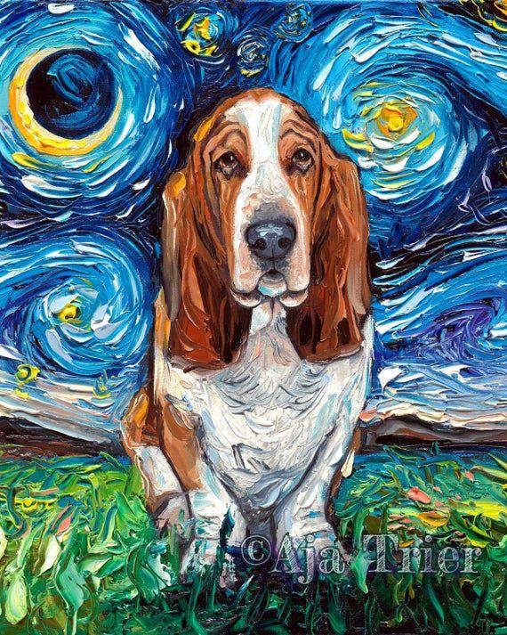 Siberian Husky Art 8x10 Starry Night Print dog lover gift cute art by Aja pup puppy pet poster wall art decor picture