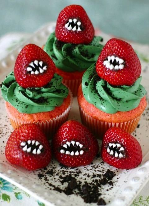 First of all, these cupcakes are pink. Second, these monster strawberries are too cute to handle.