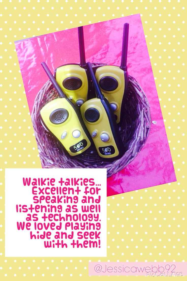 So much fun using walkie talkies! We used them to play hide and seek around the school grounds. EYFS