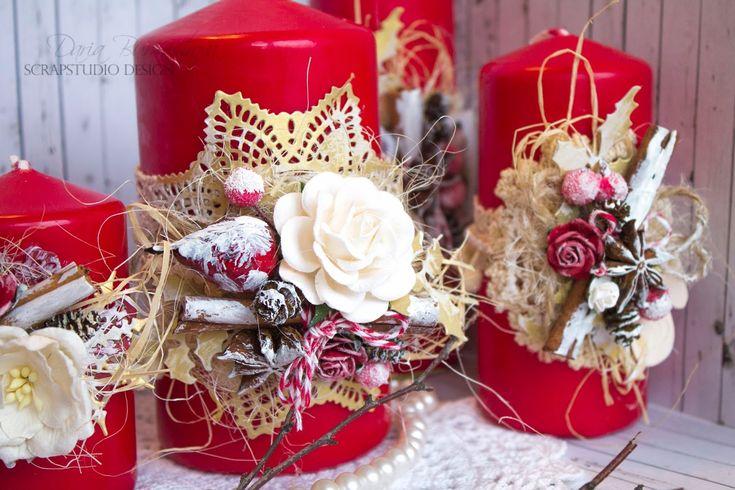 """Скрапкухня - посиделки для души...: Совместный проект """"Праздничный глинтвейн"""" Этап №3 Праздничные свечи"""