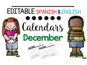 Here it is Folks! I've upgraded so you can edit it. Please leave me comments so I can improve. I use these in their homework folder as a means for communicating with parents.Included are a variety of Spanish & English calendars with different color codes for behavior management and calendars that are blank without holidays or icons. {Please rate and leave comments.