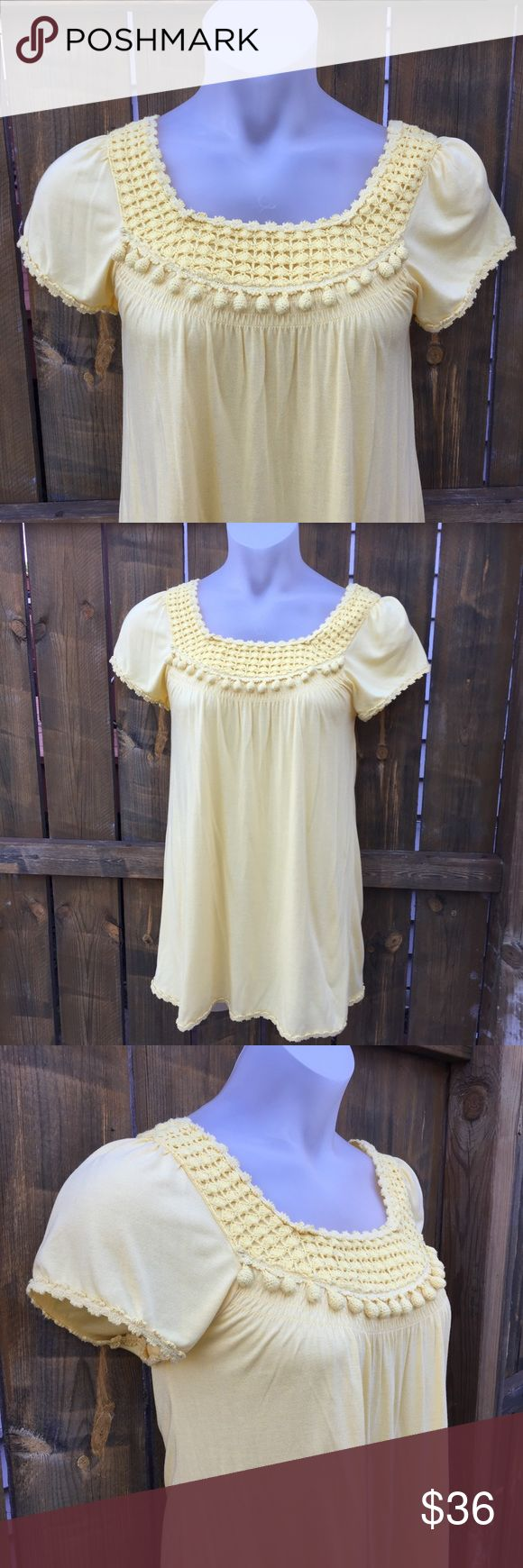 JUICY COUTURE Yellow Dress SZ M Crochet Detail JUICY COUTURE Yellow Dress SZ M Crochet Detail✨ absolutely stunning! The neckline alone-plus the hem detail coordinates. Pair with brown wedges for a fun look this summer! Juicy Couture Dresses