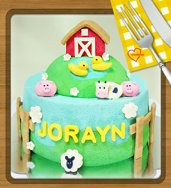 Loving Creations for You: Farmhouse Barnyard Animals Chiffon Cake (with Duck...
