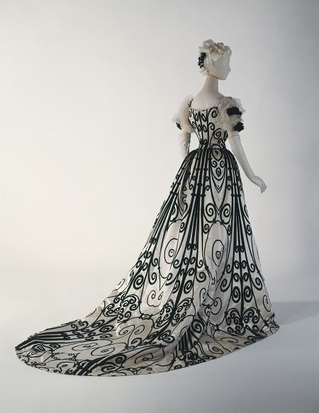 Evening dress, 1898. Beautiful B&W fabric.Evening Dresses, Fashion, Art Nouveau, Charles Frederick Worth, House Of Worth, Evening Gowns, Art History, The Dresses, Metropolitan Museums