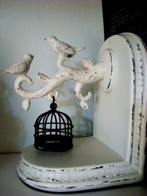 Vintage bird cage bookend
