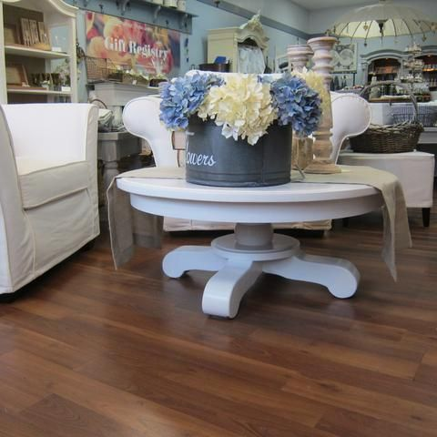 Vintage upcycled round white table