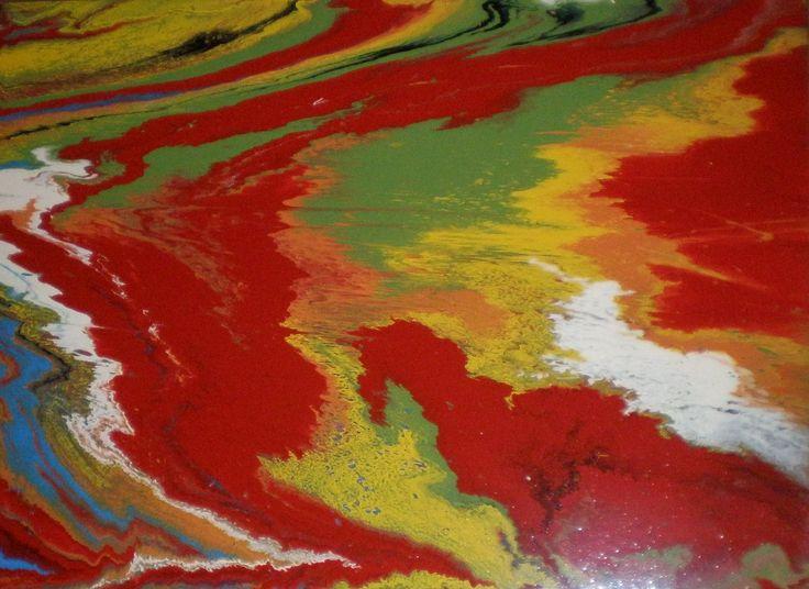 Art abstrait, Art psychédélique, Huile sur toile,Météo satellite