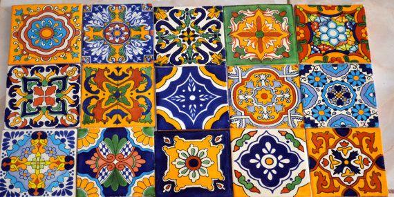 25 azulejos mexicanos. Pintados a mano 4x4 por MexicanTiles en Etsy