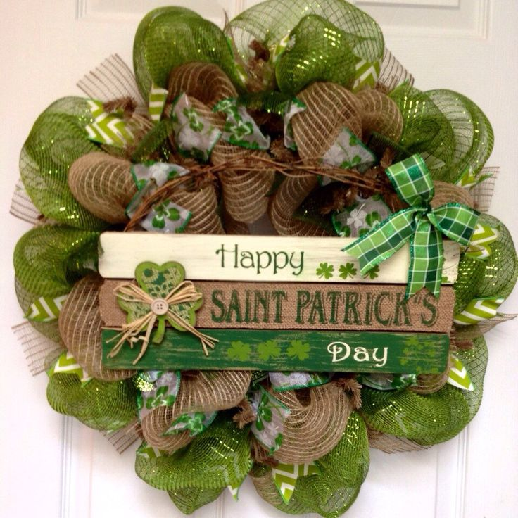 Happy St Patrick's Day Handmade Deco Mesh Wreath with