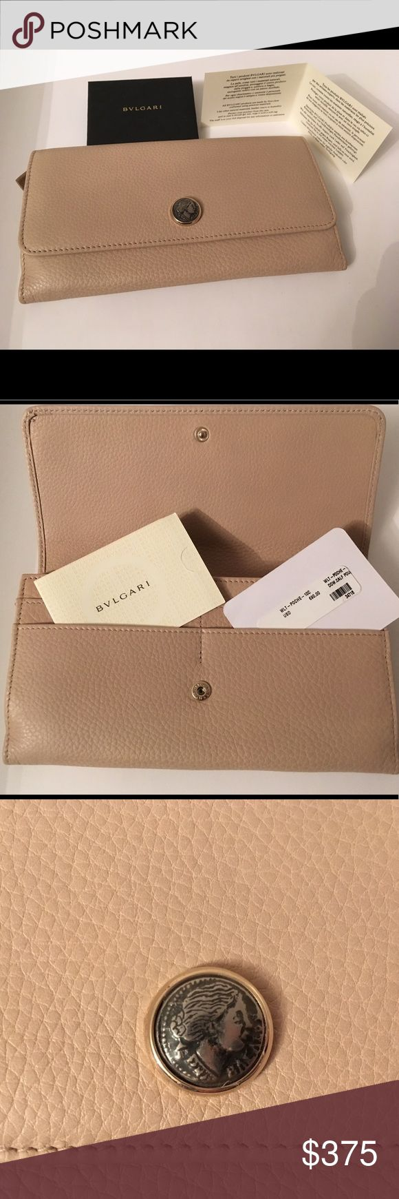 💯Authentic BVLGARI Grained Calf Leather Wallet Authentic brand new with tags Bvlgari grained leather wallet in cream/light gold color.  This wallet has total of 10 compartments for credit cards, inside zipper for change and two money holder compartments. The leather is so luxurious, it feels like butter!  Comes with original price tag and care card. Once you have this wallet you won't let it go!  I have two, so selling one 😊. Bvlgari Bags Wallets