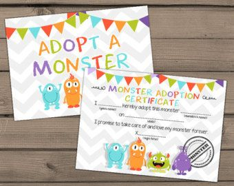 Adopt a Monster certificate and sign Monster Birthday