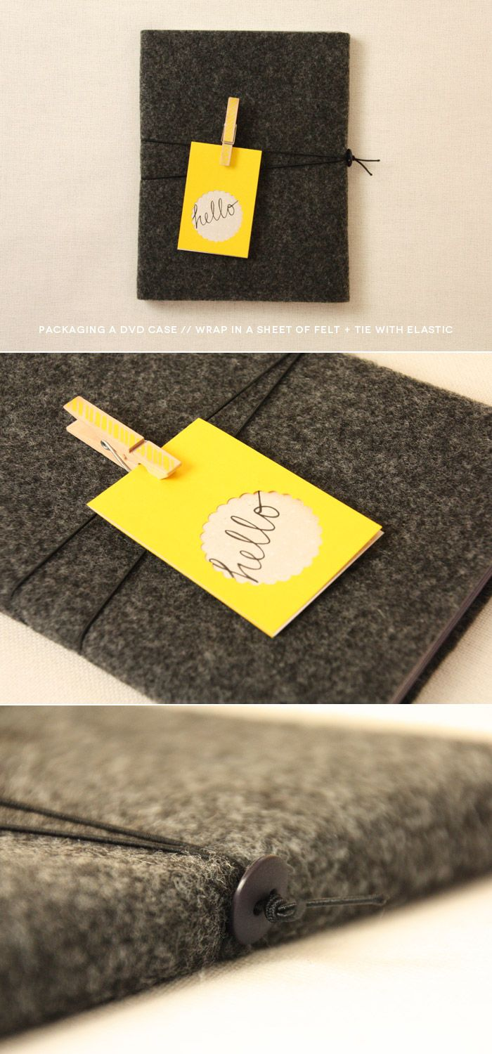 DIY photography packaging // DVD cases // use felt sheets! gray and yellow (fig. 2)