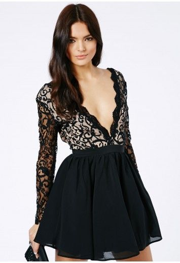 Dayana Lace Sleeve Puff Ball Dress - Dresses - Missguided