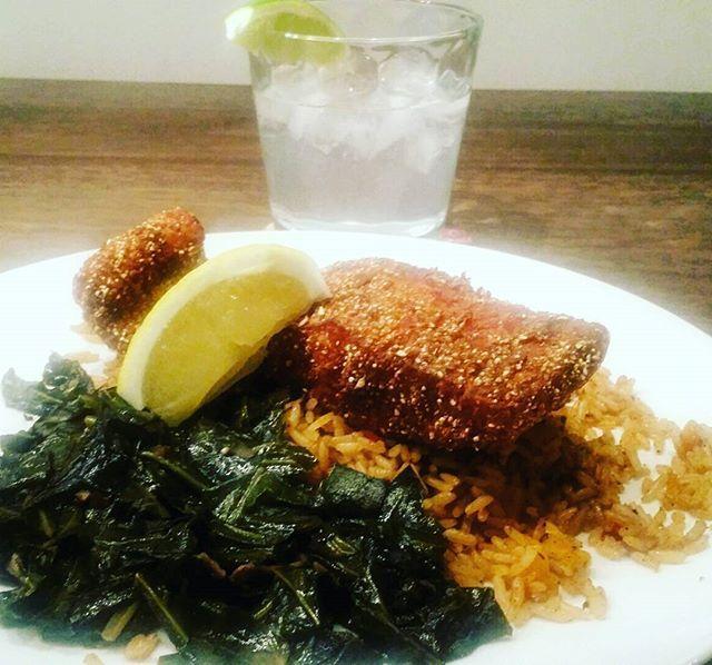 Southern Fried Steelhead Trout,  Spiced Rice Pilaf, Bourbon Collard Greens, + Gin&Tonic. #vcbfood #eattheworld #scoutYVR