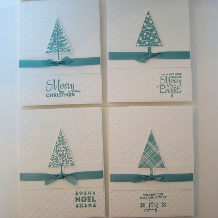 Christmas Card Set of 8, festive trees, embossed dots, embellished with faux…