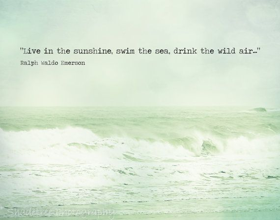 Beach Quote Ocean Photography Ralph Waldo Emerson Mint Green Teal Aqua Shabby Chic Beach Waves Seascape, 11 x 14 Fine Art Print